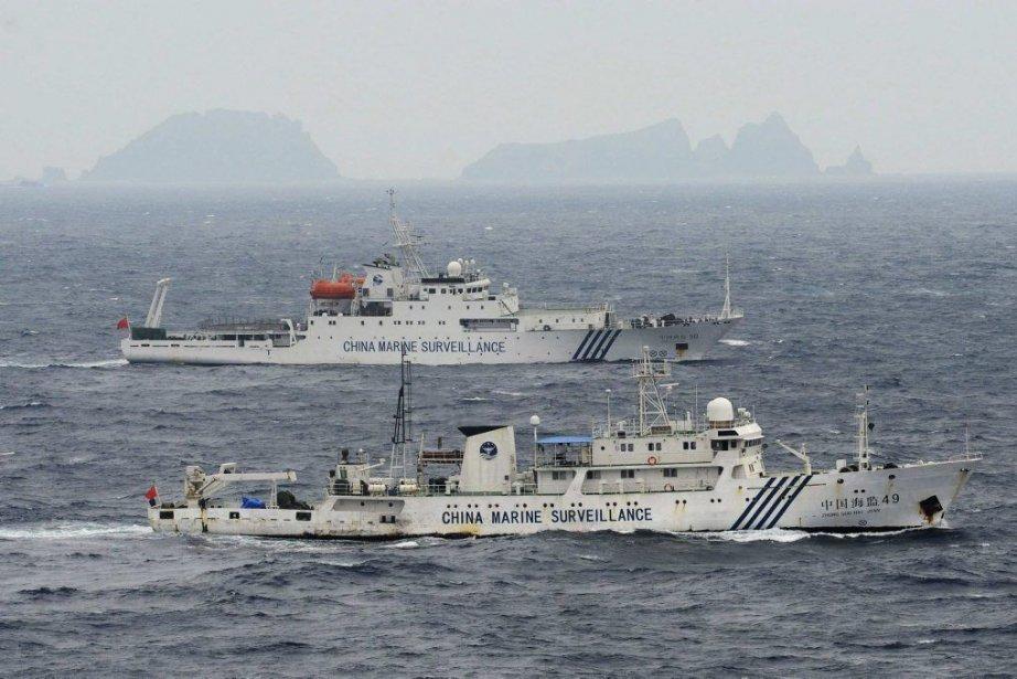 Des navires de surveillance maritime chinois sont entrés... (Photo KYODO, REUTERS)