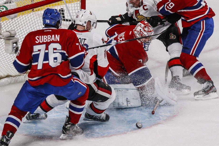 Mêlée devant le filet du gardien du Canadien... (Photo Olivier Pontbriand, La Presse)