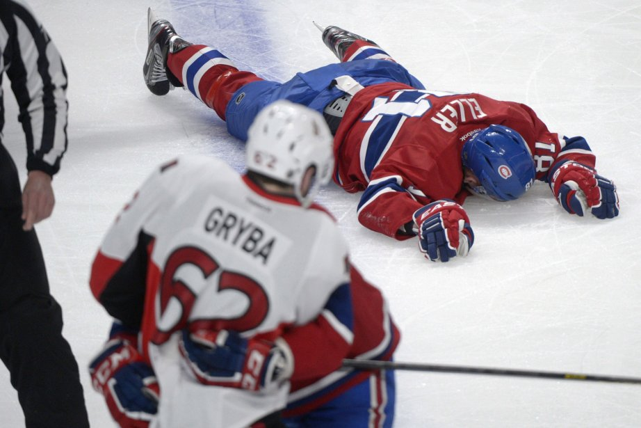 Lars Eller, après un contact avec Eric Gryba.... (Photo Graham Hughes, La Presse Canadienne)