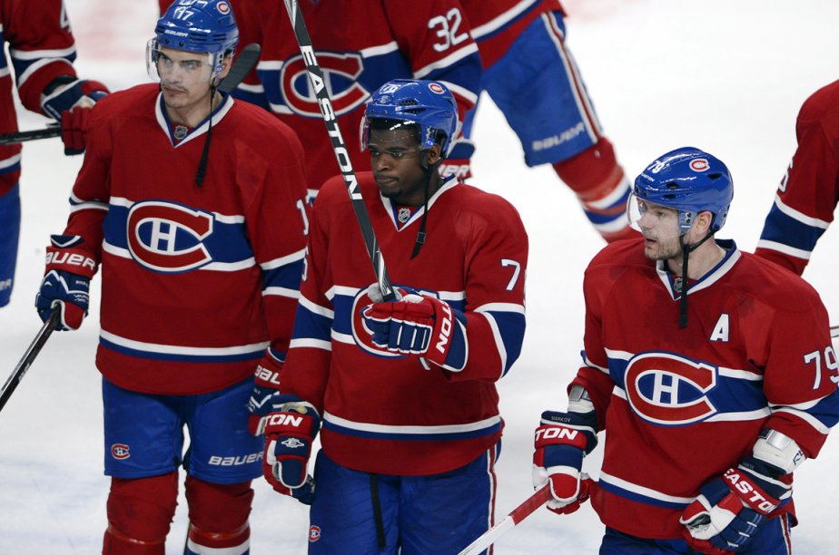 Rene Bourque, P.K. Subban et Andrei Markov.... (Photo La Presse Canadienne)