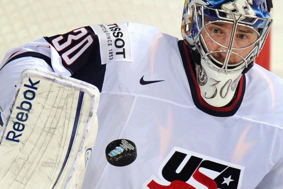 Le gardien américain Ben Bishop a effectué 15... (Photo : Alexander Nemenov, AFP)