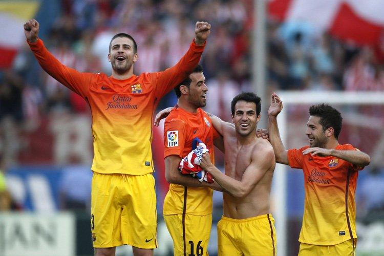 Le FC Barcelone a dignement fêté son 22e titre de champion... (Photo: Reuters)