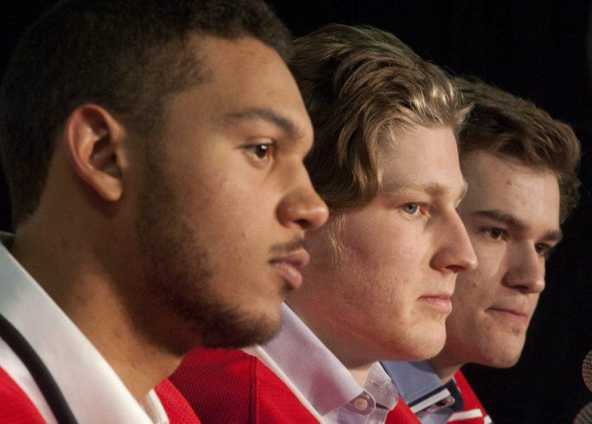 Seth Jones, Nathan MacKinnon et Jonathan Drouin, les... (Photo Liam Richards, La Presse Canadienne)