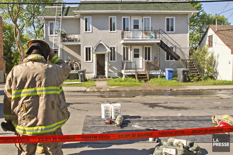 L'incendie s'est déclaré dans l'immeuble à logements de... (Photo: Félix-Olivier Jacques Fournier, collaboration spéciale)