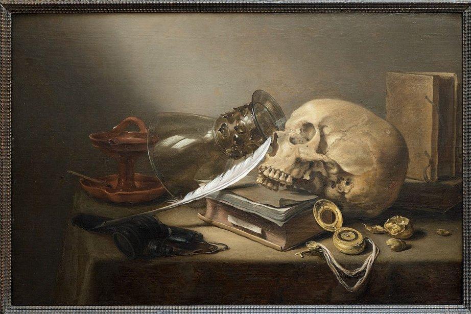 Pieter Claesz (1597-1660). Nature morte au crâne avec... (Photo Denis Farley, MBAM)