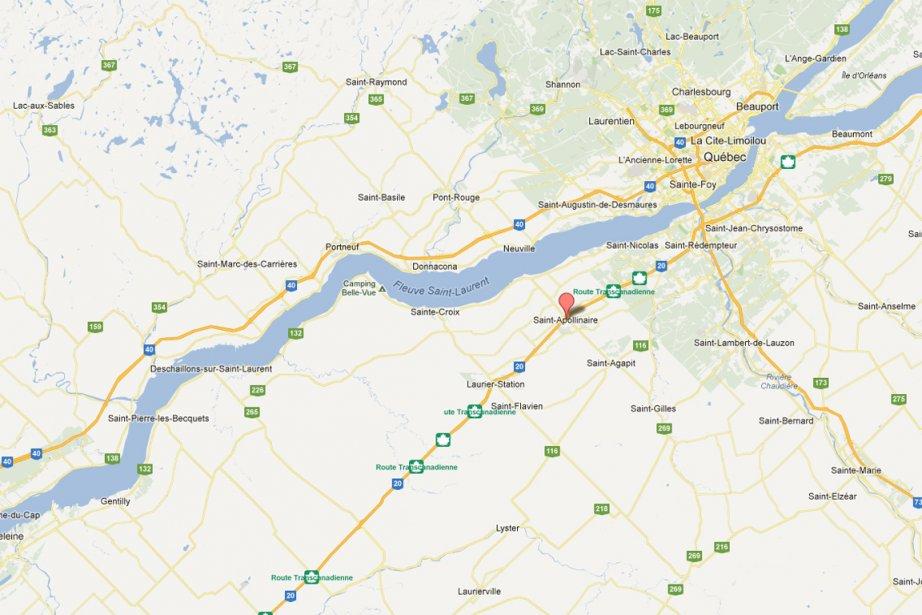 La collision est survenue sur l'A20 près de... (maps.google.ca)