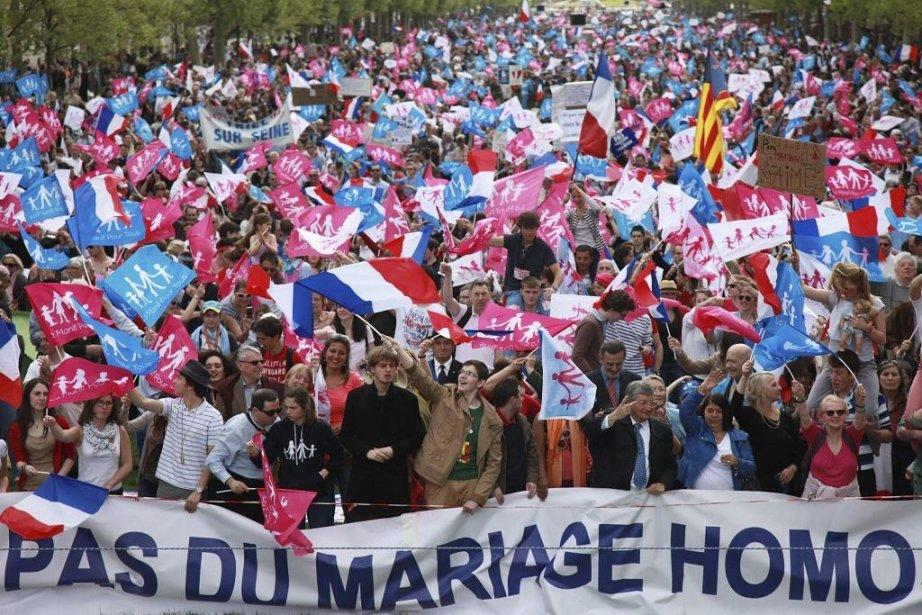 «La manif pour tous» du 5 mai dernier.... (Photo Loic Venance, Agence France-Presse)