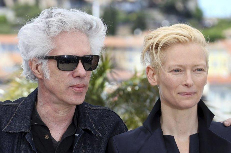 Jim Jarmusch et Tilda Swinton à Cannes.... (PHOTO LOIC VENANCE, AFP)