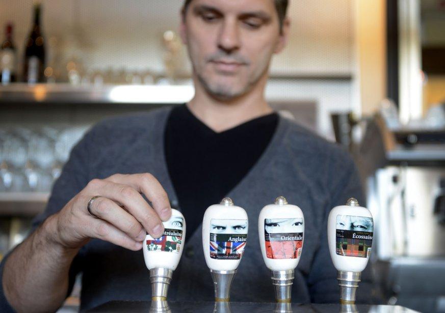 Quelques-unes des bières offertes en fût chez Brasseur de Montréal (Photo: Bernard Brault, La Presse)