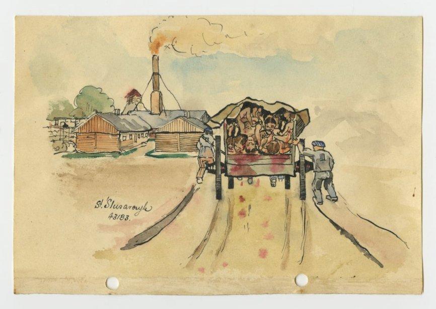 L'un des neufs dessins retrouvés représentant le camp... (PHOTO : AFP / www.auschwitz.org)