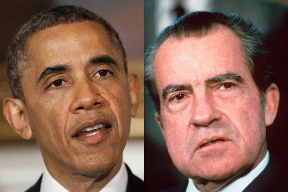 La comparaison entre les présidents Obama et Nixon... (Photos d'archives AFP et AP)