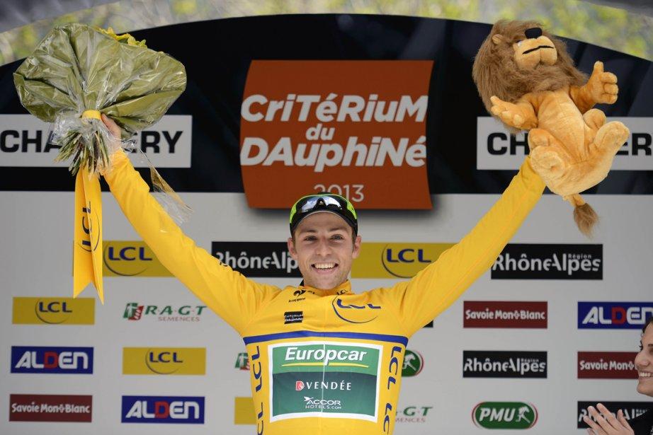 David Veilleux a enfilé le maillot jaune de... (Photo Jeff Pachoud, AFP)