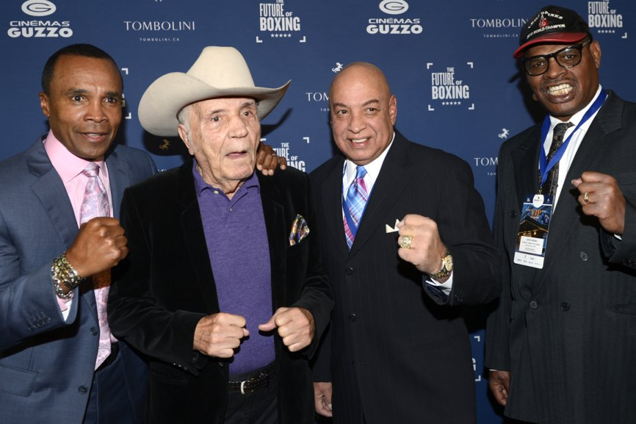 Sugar Ray Leonard, Jake LaMotta, Joe Cortez et... (Photo Bernard Brault, La Presse)