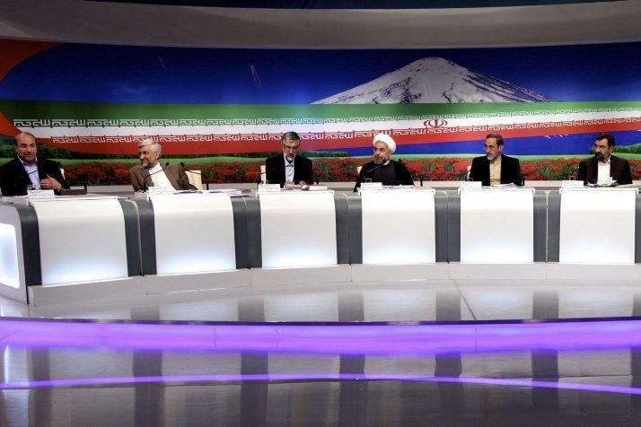 Les huit prétendants à la présidence ont pris... (PHOTO MEHDI DEHGHAN, AFP)