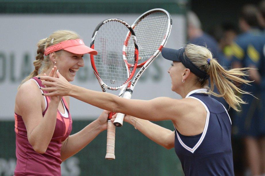 Ekaterina Makarova et Elena Vesnina... (Photo : Miguel Medina, AFP)