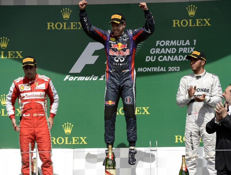 Sur sa Red Bull, Vettel a devancé Fernando Alonso, sur Ferrari, et Lewis Hamilton, sur Mercedes. | 10 juin 2013