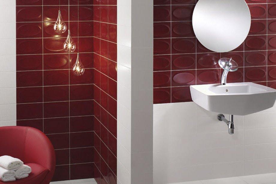 Carreaux avec ovales en reliefs, pour installation murale seulement. Série Mood, couleur Vermell, chez Céragrès. (Photo fournie par Céragrès)