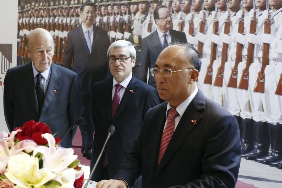 Valery Giscard D'Estaing, Emmanuel Hoog, Pdg de l'AFP... (Photo: AFP)