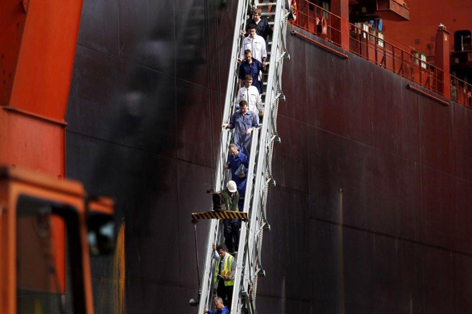 L'équipage du Mol Comfort, composé de 26 marins,... (PHOTO DINUKA LIYANAWATTE, REUTERS)