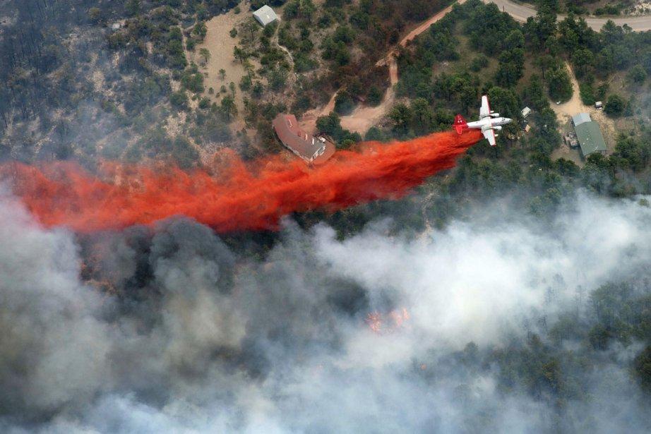 Un canadair survole un feu dans la Forêt... (PHOTO JOHN WARK, ARCHIVES AP)