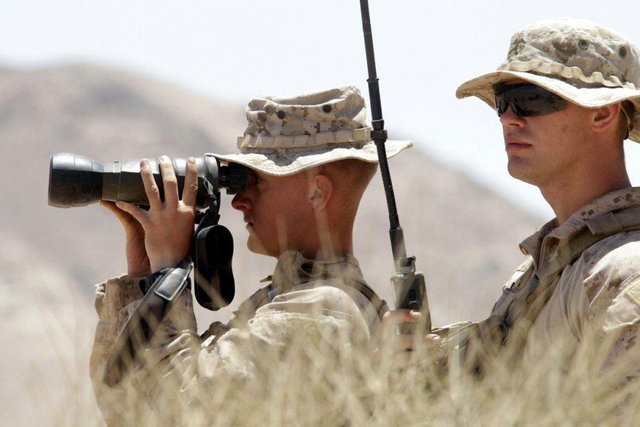 Des soldats américains lors d'un exercice militaire à... (PHOTO KHALIL MAZRAAWI, AFP)
