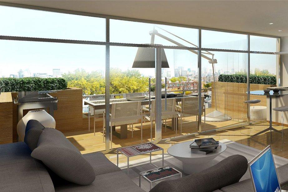 Au dernier étage, les propriétaires des maisons en rangée auront accès à une vaste pièce ouverte sur une terrasse privée sur le toit. (Illustration fournie par Projets Europea)