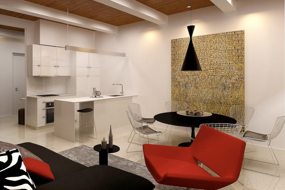 Le plafond fait de bois posé verticalement (mill floor) donnera beaucoup de charme aux condos. (Illustration fournie par Projets Europea)