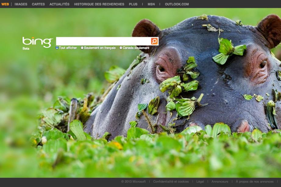Page d'accueil dumoteur de recherche Bing, propriété de...