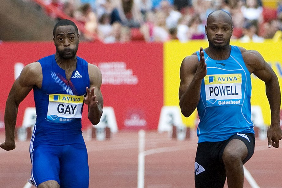 L'Américain Tyson Gay et le Jamaïcain Asafa Powell... (Photo : archives Agence France-Presse)