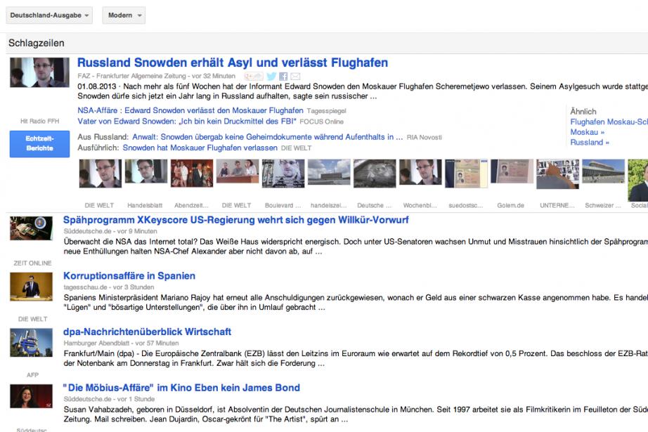 Les médias allemands continueront de permettre à Google... (Photo Google News)