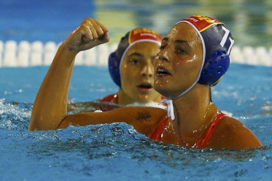 Maria Garcia Godoy de l'Espagne célèbre son but... (Photo Michael Dalder, Reuters)