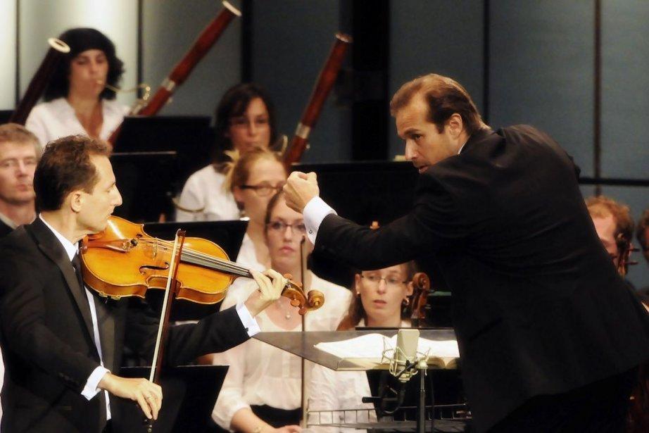 Antoine Tamestit à l'alto et Fabien Gabel au... (Photo Christina Alonso, Festival de Lanaudière)
