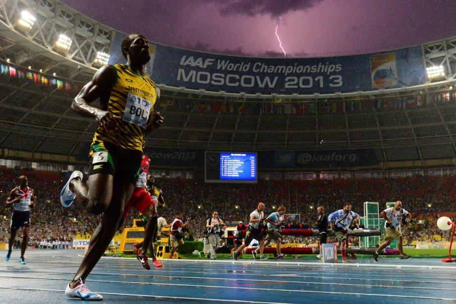 Cette photo d'Usain Bolt prise dimanche à Moscou... (Photo : Olivier Morin, AFP)