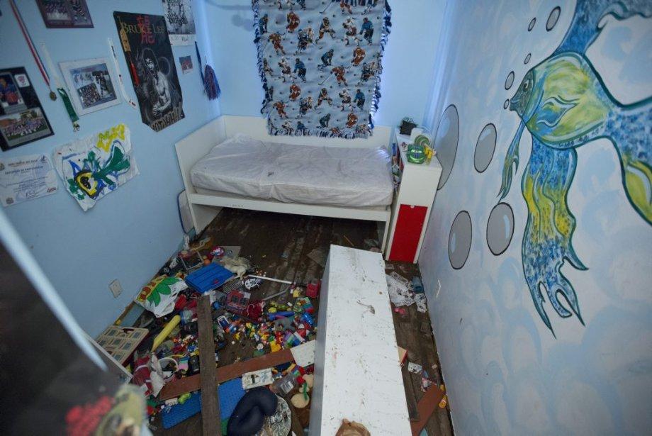 La chambre du petit-fils (7 ans) de Linda Huard Martin n'a pas été épargnée par les inondations. | 14 août 2013