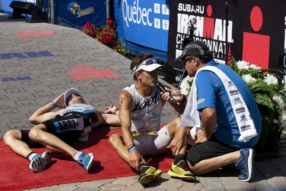 Le Français Romain Guillaume était exténué après avoir franchi le fil d'arrivée. | 19 août 2013