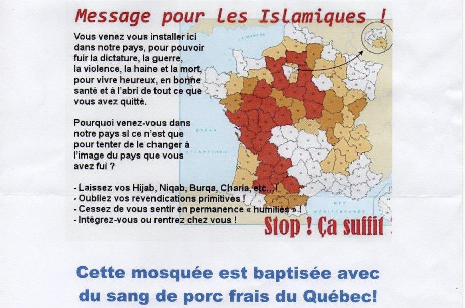Une lettre contenant des propos à connotation islamophobe... (Lettre obtenue par Le Quotidien)