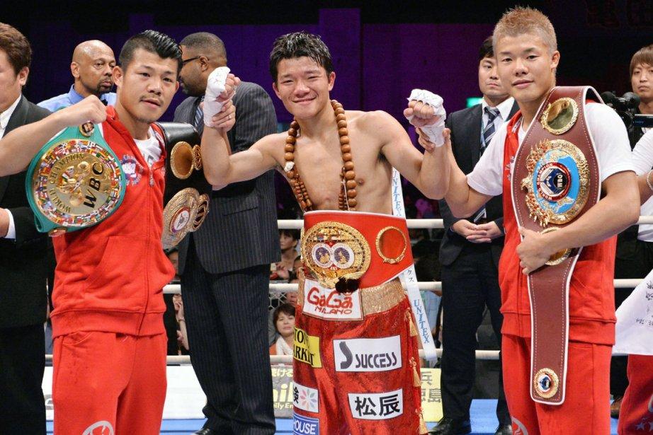 Le boxeur japonais Daiki Kameda (au centre) a... (Photo AFP)