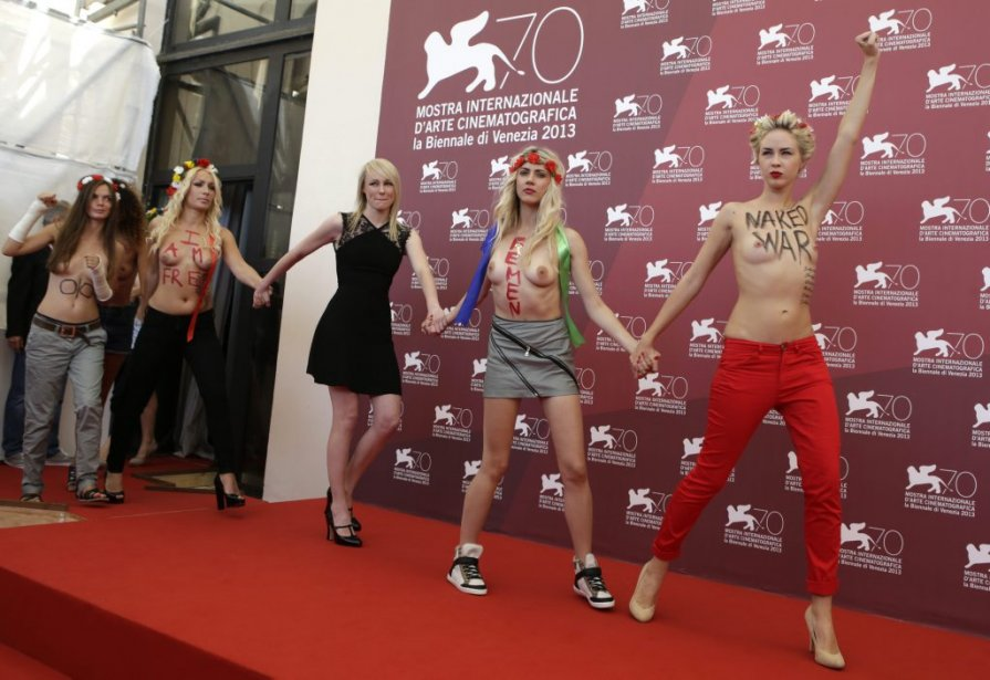Des membres du mouvement ukrainien Femen font la promotion du film «Ukraine Is Not A Brothel». | 4 septembre 2013