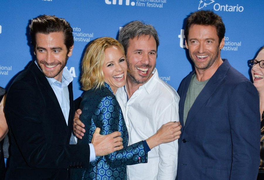 De gauche à droite, Jake Gyllenhaal, Maria Bello, Denis Villeneuve et Actor Hugh Jackman lors de la conférence de presse de «Prisoners». | 12 septembre 2013