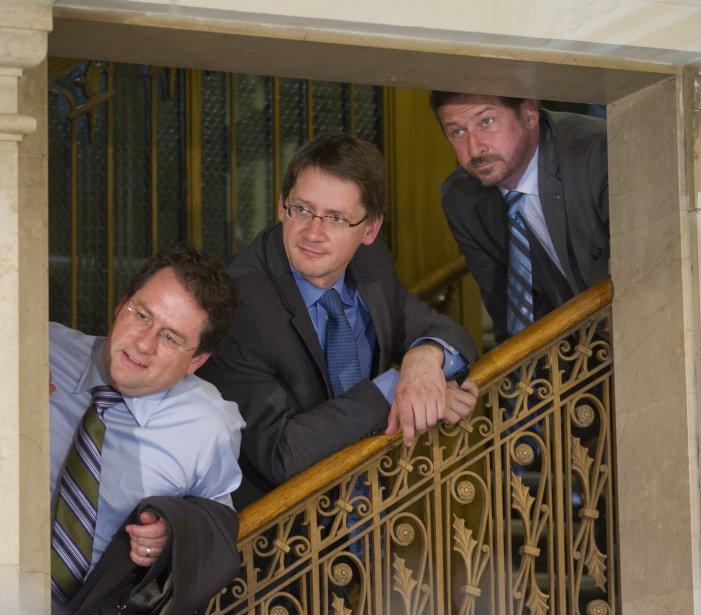 Bernard Drainville, Sylvain Gaudreault et Yves-François Blanchet. (Photo Ivanoh Demers, Archives La Presse)