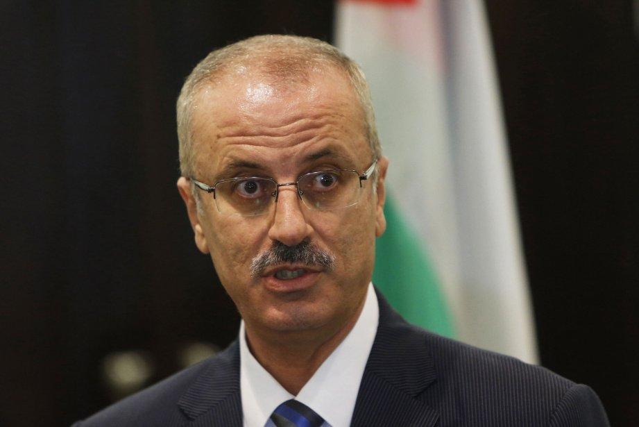 Le chef du gouvernement palestinien,Rami Hamdallah.... (Photo MOHAMAD TOROKMAN,)