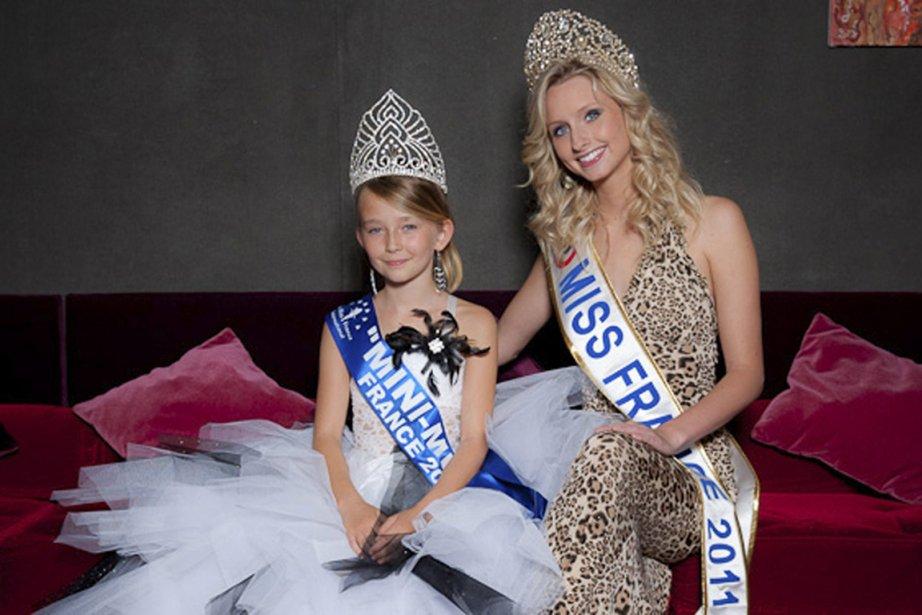 Océane Scharre, mini Miss France 2011, aux côtés... (Photo AP)