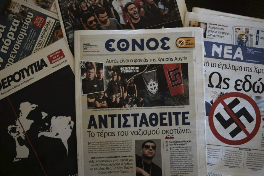 La mort dePavlos Fyssas a fait le Une... (Photo AFP)