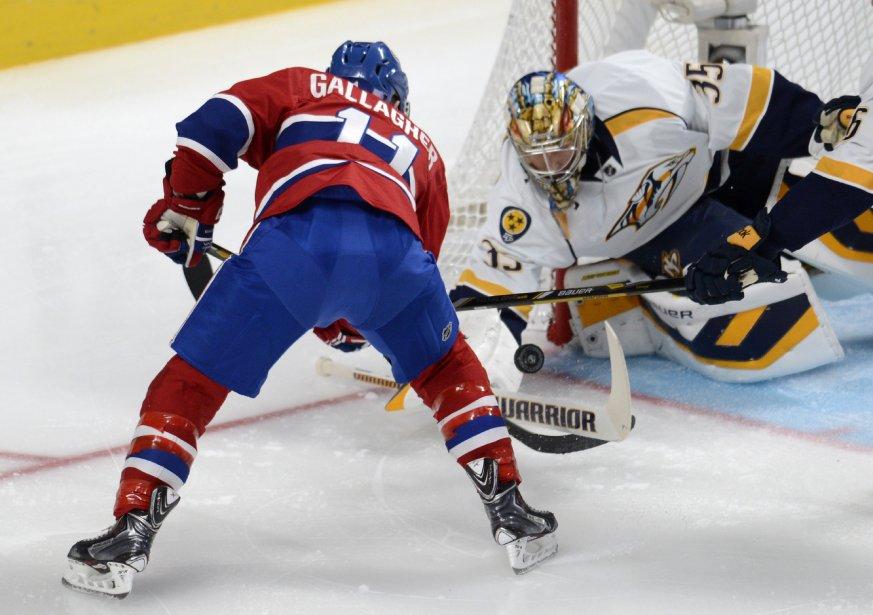 Brendan Gallagher du Canadien se fait fermer la porte par le gardien Pekka Rinne. (Photo Bernard Brault, La Presse)