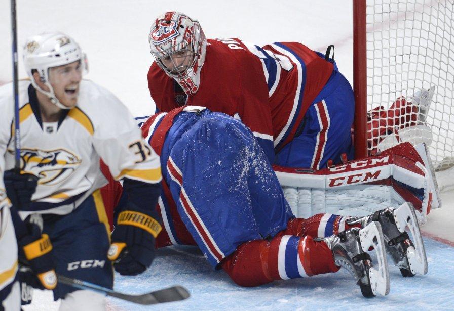 Carey Price décontenancé après avoir accordé le but gagnant des Predators. (Photo Bernard Brault, La Presse)
