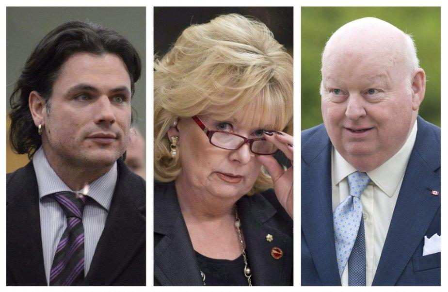 Sur la photo, les sénateursPatrick Brazeau, Pamela Wallin... (PHOTOS ADRIAN WYLD, LA PRESSE CANADIENNE)