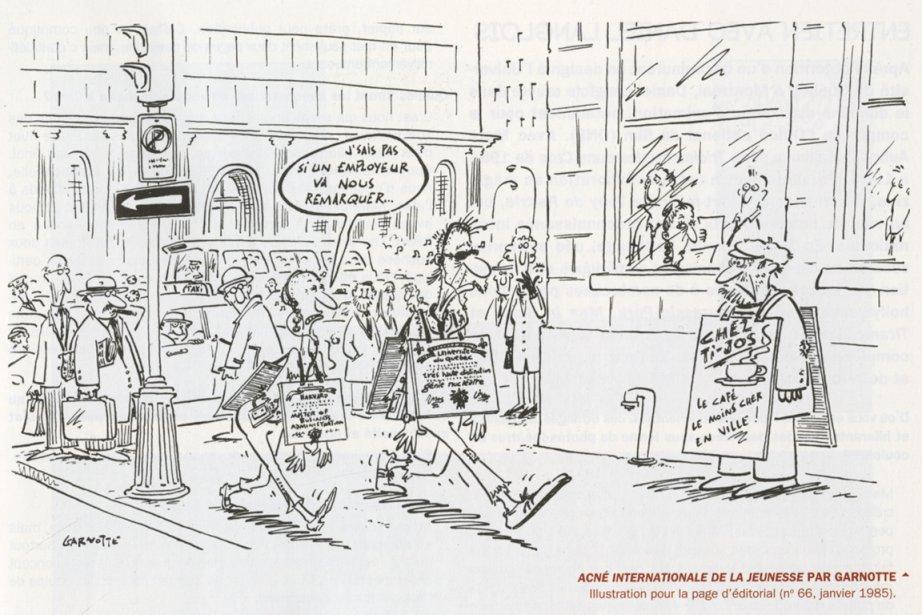 Une illustration de Garnotte intitulée Acné internationale de... (Image tirée du livre)