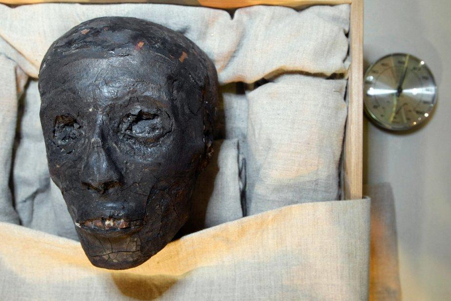 La tête de la momie de Toutânkhamon, dans... (PHOTO CRIS BOURONCLE, ARCHIVES AFP)
