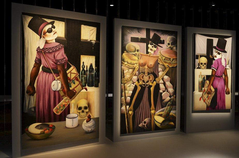 Didier Civil. «Triptyque de Gede», 2006, acrylique sur toile. Dans ce triptyque, Gede se manifeste dans les corps de ses sèvitè (adeptes féminines). Le regard absent des sèvitè et du lwa, debout entre les tombes d'un cimetière, exprime une indifférence à l'égard des observateurs. Ce détachement n'existait pas dans les représentations antérieures de Gede. (Le Soleil, Patrice Laroche)