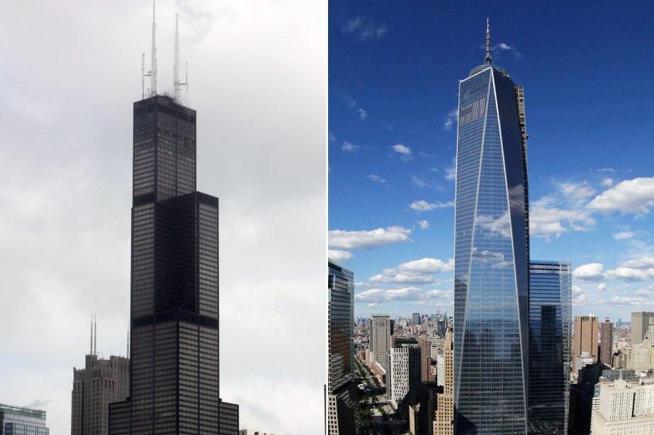 À gauche, la tour Willis de Chicago mesurant442... (Photo AP)